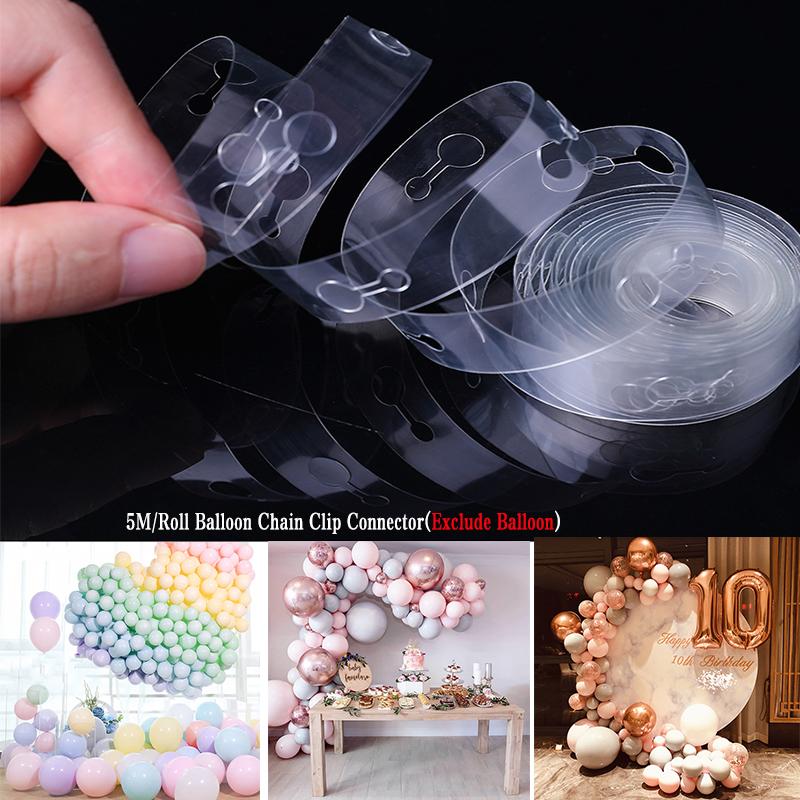 5 M Ballon Arch Decor Strip Connect Chaîne en Plastique À faire soi-même Ruban Party Supplies UK