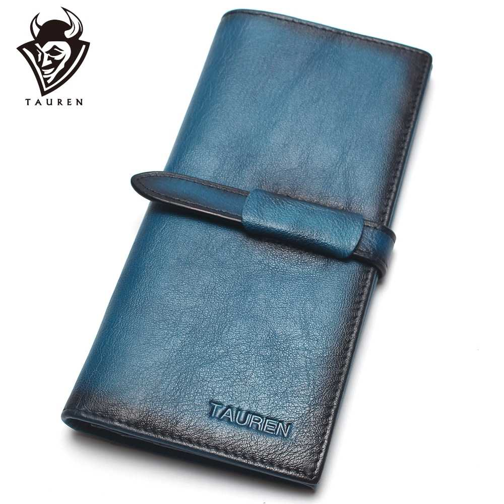 Pincel Color RFID Classic 100% cuero genuino cuero Natural hombres y mujeres billetera larga monedero Vintage diseñador hombres carteras