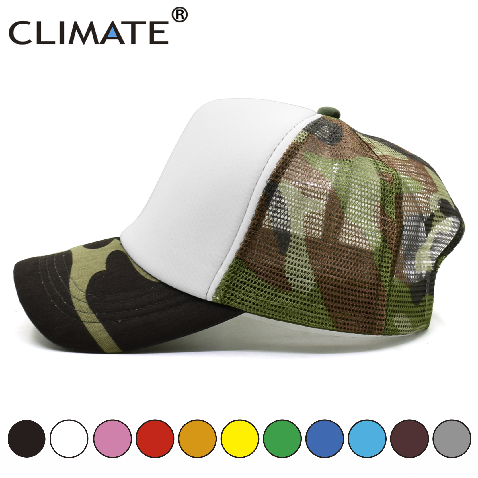 CLIMATE Blank Trucker   Caps   Camouflage Dad Hats Family DIY   Caps   Men Women Kid Children Hip Hop Hat Solid No Logo Blank   Caps