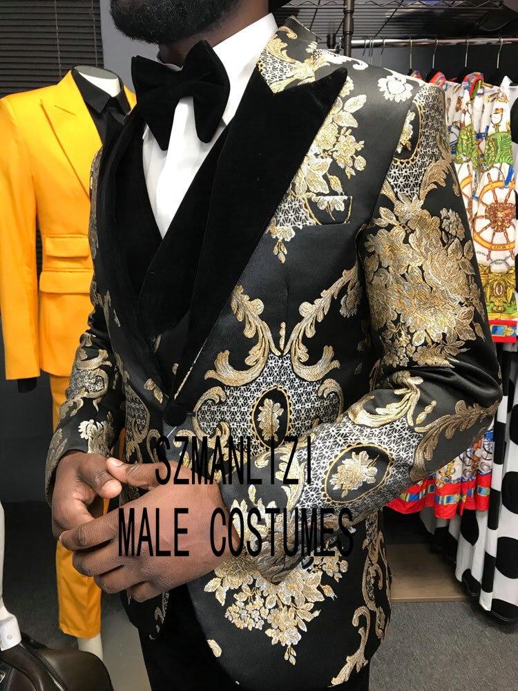 2020 Latest Design Peaked Lapel Mens Dinner Party Prom Suits Groom Tuxedos Groomsmen Wedding Suits For Men Jacket+Pants+Vest