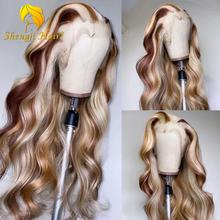 Perucas dianteiras do laço destacam a onda do corpo peruca brasileira do cabelo humano remy onda do corpo destacada peruca frontal do laço perucas transparentes do laço