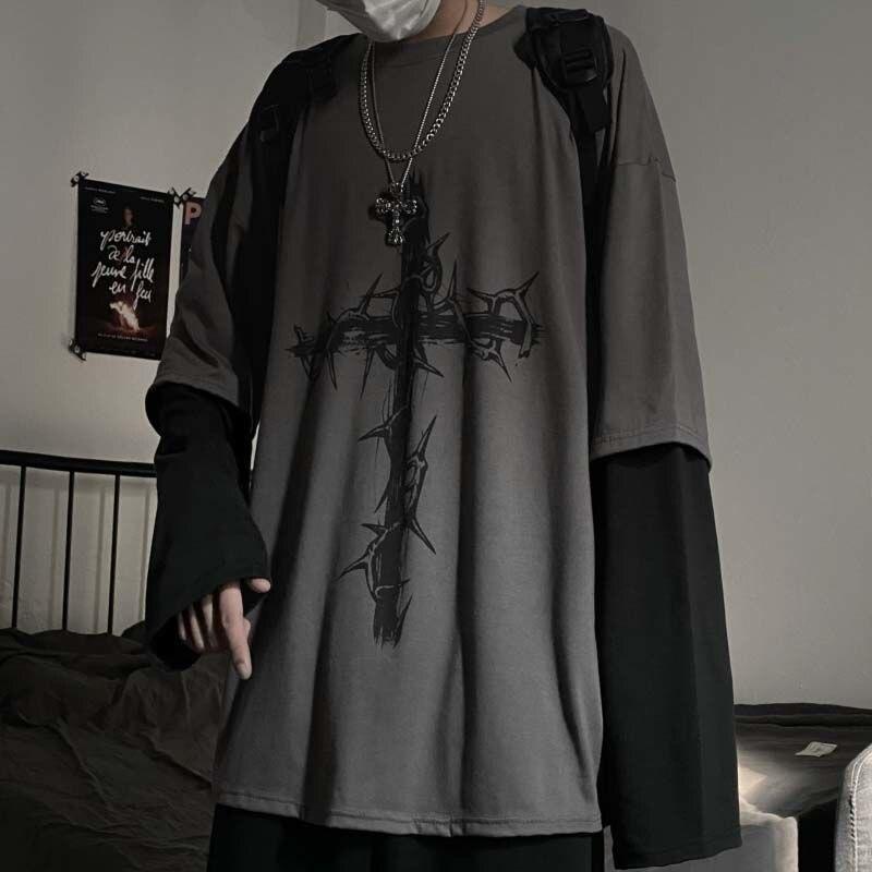 2021 Готический Стиль Топы в стиле «панк» с длинным рукавом Ф-рубашка Японская уличная одежда модная Корейская Стиль негабаритных y2k Топы