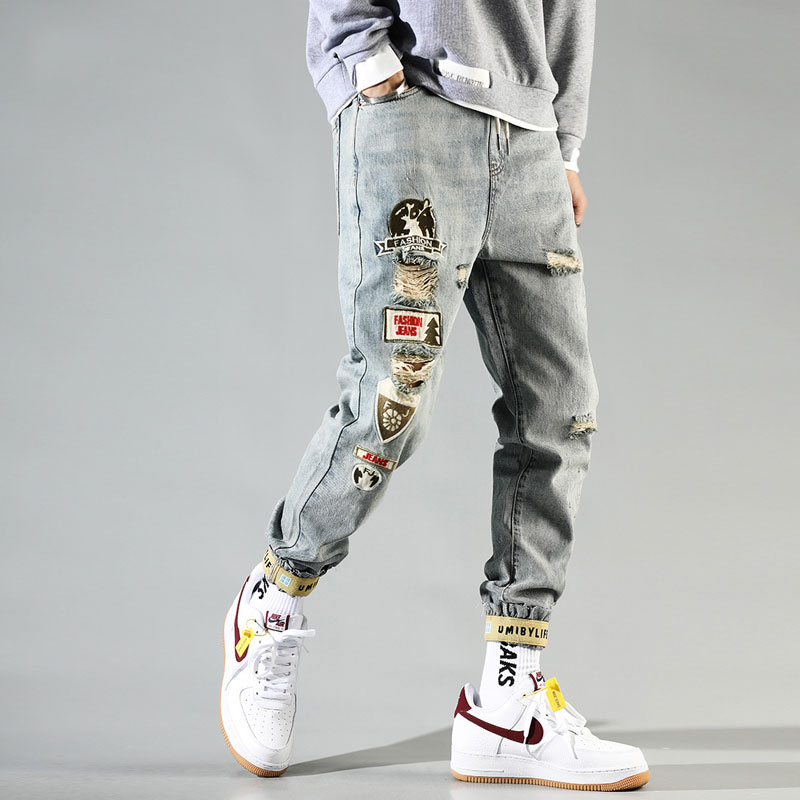 Fashion Streetwear Men Jeans Retro Blue Patches Designer Destroyed Ripped Harem Pants Slack Bottom Hip Hop Jeans Men Trousers