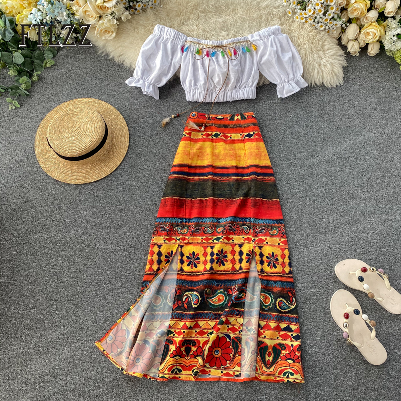 Summer Beach Wear Two Piece Sets New Women Off The Shoulder Crop Tops And Vintage Print Bandage Long Skirt Oufit Female Clothes