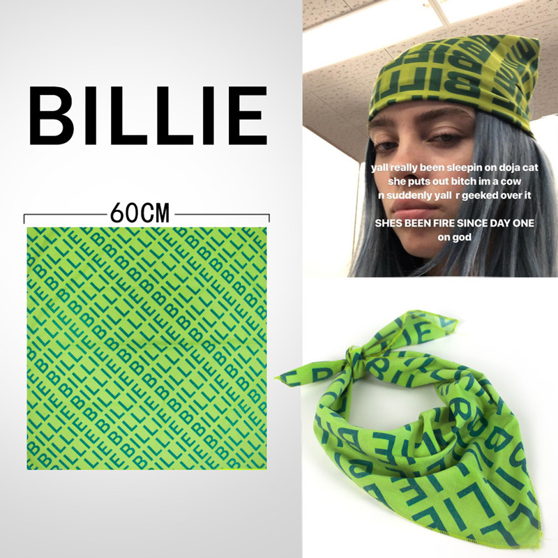Billie Eilish Bandana Headband Hair Band Cosplay   Headwear   Hip-hop Green Square Scarf