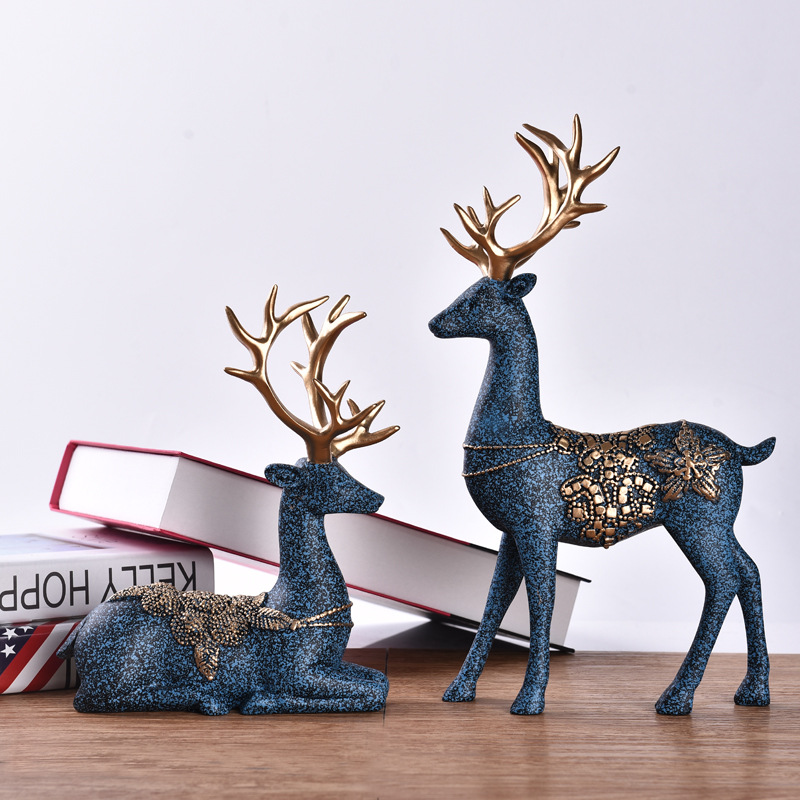 2 Pieces Of European Ornaments Resin Crafts Nordic Deer Wine Cabinet Sculpture Statue Creative Living Room Desk Home Decorations