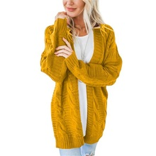 Loose Womens Knit Cardigan Large Size Long-Sleeved Solid Color Sweater Autumn And Winter Casual Coat