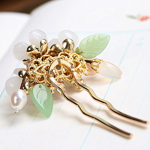 Image 4 - Copper Freshwater Pearl Hair Pins Gem Stone Hair Pin Flower Chinese Hairpin Wedding Hair Accessories Pince Cheveux WIGO1359