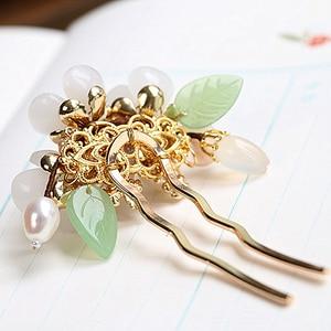 Image 4 - ทองแดงน้ำจืด Pearl Hair Pins อัญมณีหินผม PIN ดอกไม้จีน Hairpin งานแต่งงานอุปกรณ์เสริมผม Pince Cheveux WIGO1359
