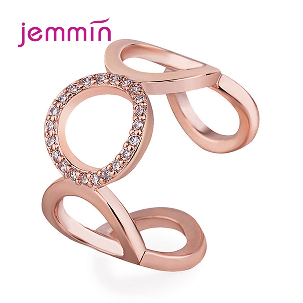 Women 925 Sterling Silver Opening Rings For Women Exaggerates Circle Birthday Gift Metal Korean Brilliant Frienship Jewelry Gift