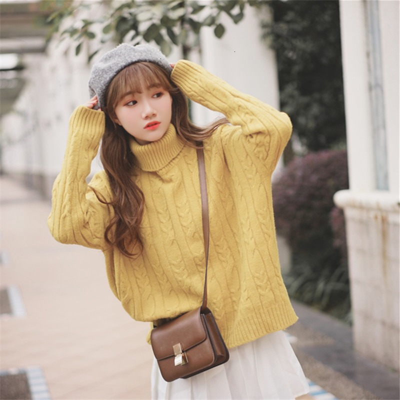 Solid Twist Thick Turtleneck Loose Long Sleeve Fashion Winter Pull Femme Knitted Sweater Pullover New 2019   Female Women Jumper