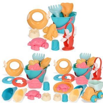цена 9/14/17pcs Baby Beach Game Toys Children Sandbox Set Kit Seaside Bucket Water Game Play Cart онлайн в 2017 году