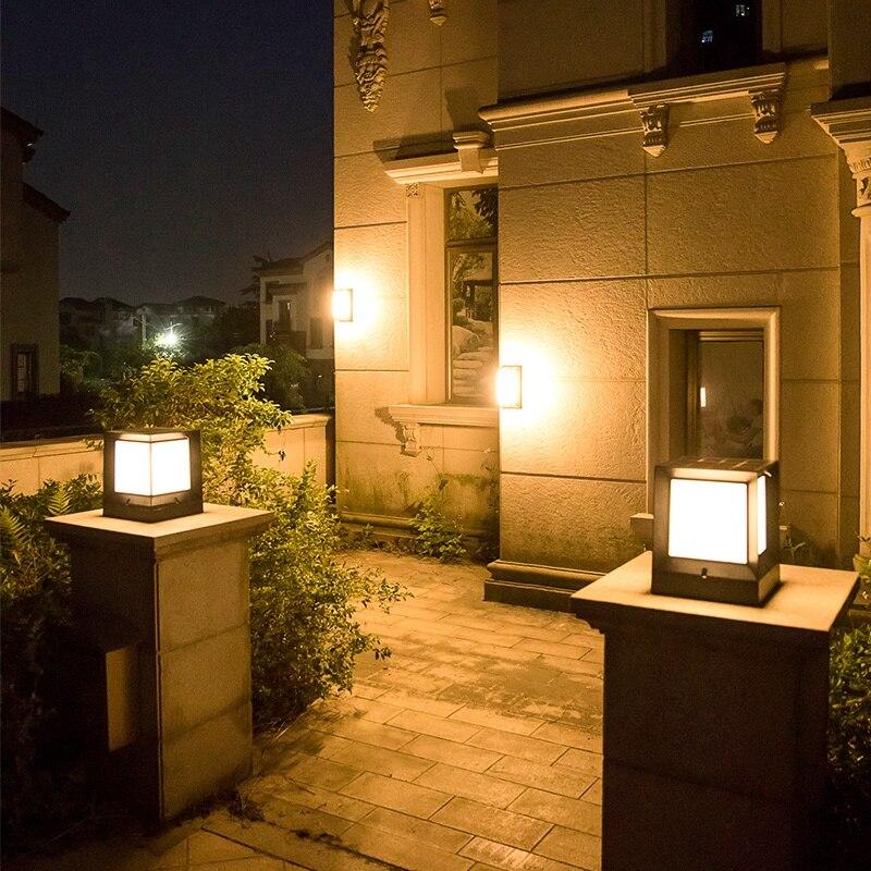 Солнечная колонна лампа литья алюминия беспроводной водонепроницаемый двухцветная СВЕТОДИОДНАЯ колонна головной светильник садовая нару... - 4