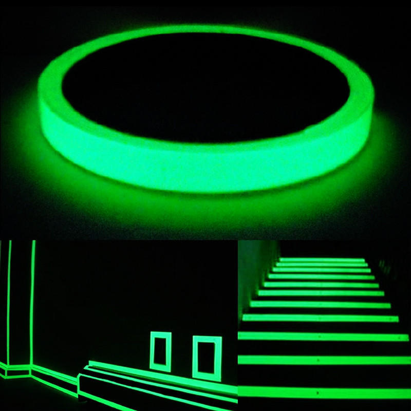 10M Blue And Green Self-adhesive Luminous Tape Glow In The Dark Safety Film Stage Home Decorations Vision Security Tape Car Tape