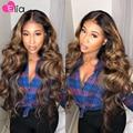 Elia Выделите 4 30 Синтетические волосы на кружеве парик объемная волна парики Virgin (не подвергавшиеся химическому воздействию 100% предваритель...