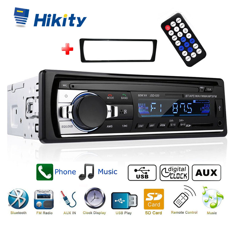 Hikity car radio 1 din support Bluetooth USB SD AUX IN Remote Control ISO connector Stereo car MP3 player image