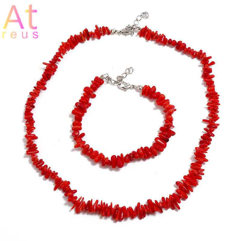 Nigerian Wedding African Red Imitation Coral Beads Jewelry Set African Costume Jewelry Sets Irregular Stone Bracelet Necklace