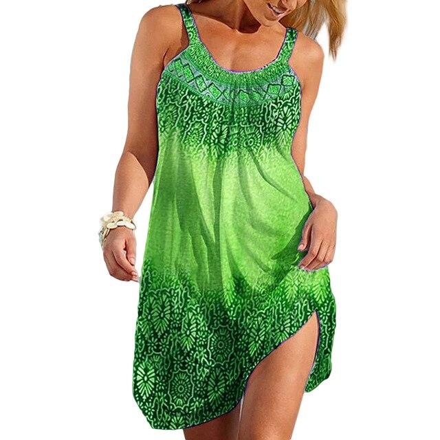3XL Summer Dresses Women 2021 Beach Style Casual Loose Plus Size Dress Ladies Print Sexy Strap Short Dress 2