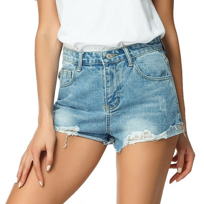 2020 New Summer Denim Short Jeans Women Sexy High Waist Ripped Hole Jeans Shorts Fashion Casual Slim Denim Shorts Lady Hotpants