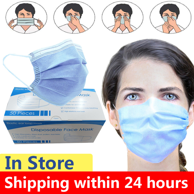 10/20/30/50PCS Face Mask Anti Dust Mask Daily Protective Mask Anti Fog Dust-proof Non-woven Melt Blown Three-layer Anti Flu Mask