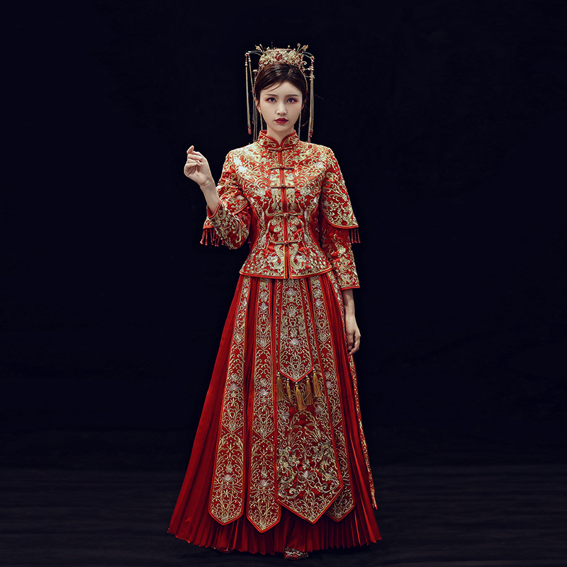 2019 Real 2020 New Wedding Toast Under Chinese Style Dress A Chaplet And Official Robes Marry Longfeng Existing In The Summer
