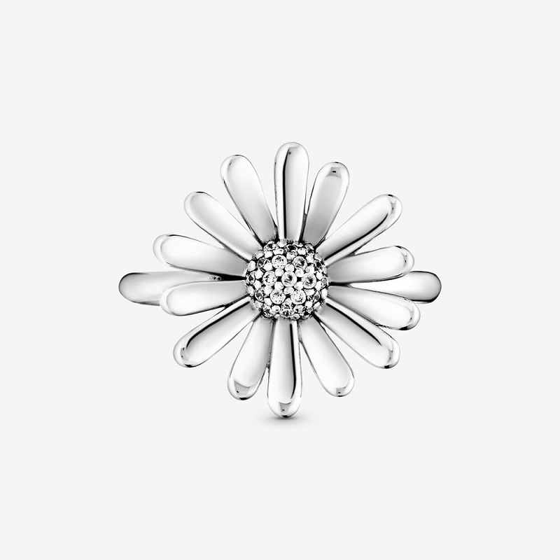 2020 New Fine Jewely 925 Sterling Silver Pave Daisy Flower Statement Finger Ring For Women Brand Original Silver 925 Rings Gift