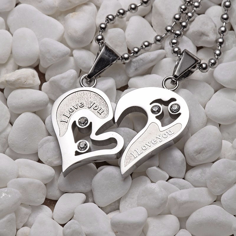 Lock Key To Heart Silver Stainless Steel Lover Puzzle Pendant Couple Necklace Se