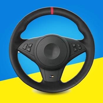Trenza de automóvil en la cubierta del volante para BMW E60 E63 E64 M5 2005 2007 accesorios interiores de la cubierta del volante de la trenza del coche