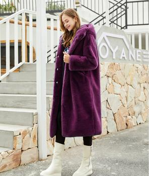 Oversized Winter Warm hooded Jacket women Thicken Long Coat Solid color Faux Fur Coat Women Casual Women Fur Faux Jacket Outwear casual thick faux fur hooded long sleeve bodycon coat for women page 4