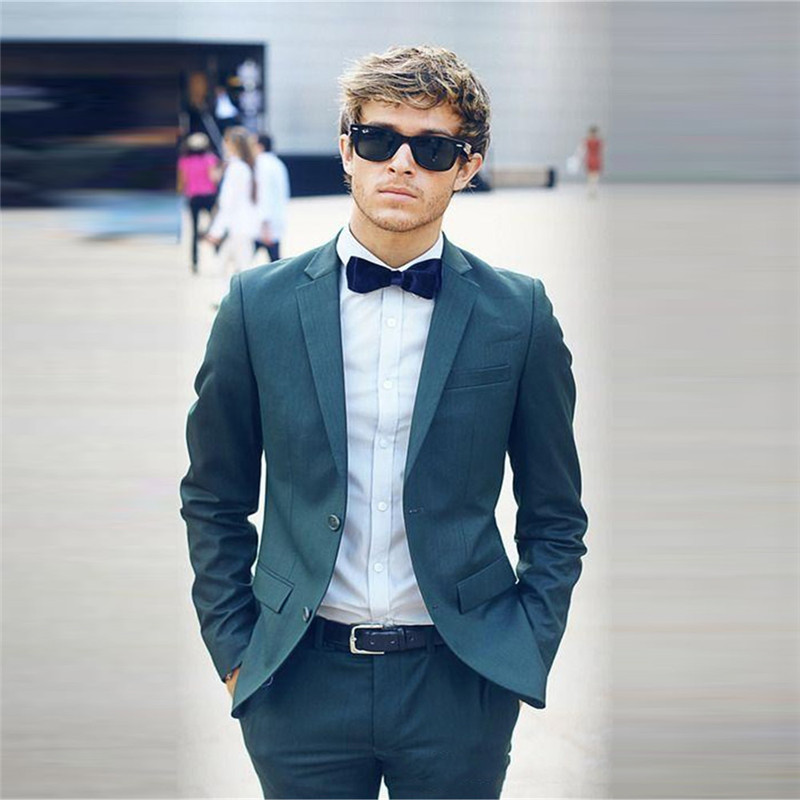 Classy Hunter Green Wedding Tuxedos Slim Fit Suits For Men Cheap Two Buttons Groom Suit Two Pieces (Jacket+Pant)