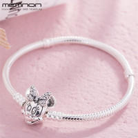 925 Sterling Silver Bracelet Shimmering Mouse Portrait Clasp Fit Charms Bracelets DIY for Women silver 925 Snake Chain Jewelry