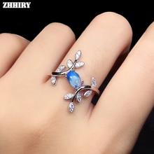 ZHHIRY натуральный лунный камень кольцо Твердое Серебро 925 пробы для женщин драгоценные камни кольца девушка растительный лист форма ювелирные изделия