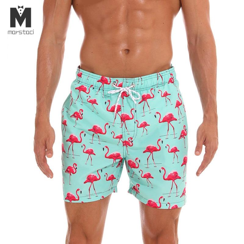 Marstaci Mens Swimwear Swim Shorts Trunks Flamingo Beach Board Shorts Swim Pants Swimsuits Mens Running Sports Surffing Shorts