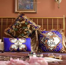 Luxurious Cushion Cover Decorative Tassel Pillow Case Modern Collection Luxury EARL Print Soft Velvet Sofa Chair Decor