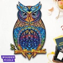 Original de madeira animal quebra-cabeças misterioso coruja 3d quebra-cabeça presente fabuloso presente interativo para adultos crianças educacional