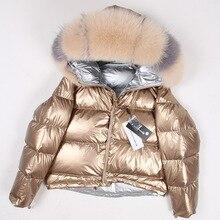 Casaco de pele real natural gola de pele de raposa 2020 jaqueta de inverno feminino solto curto para baixo casaco de pato branco para baixo casaco grosso quente parka
