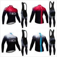 New Men INEOS Long sleeve Team Bike Jersey Cycling Top shirts 2019 Autumn 9D Pad Bib Pants Sets Ropa Ciclismo bicicleta Clothing