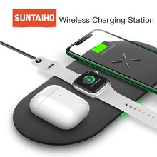 Suntaiho 3 in1 Qi Wireless Charger for iPhone 11 Pro samsung S10 10W Fast Wireless Charger for Airpods for Apple Watch 1 2 3 4