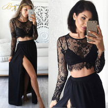 BeryLove Morden Long Sleeves Black Two Pieces Evening Dresses 2018 Lace Gowns With Slit Plus Size Formal Party