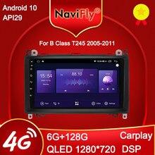 NaviFly 6GB + 128GB QLED 1280*720 Android 10.0 samochodowy odtwarzacz multimedialny Radio GPS dla Mercedes Benz B200 A B klasa W169 W245 Viano