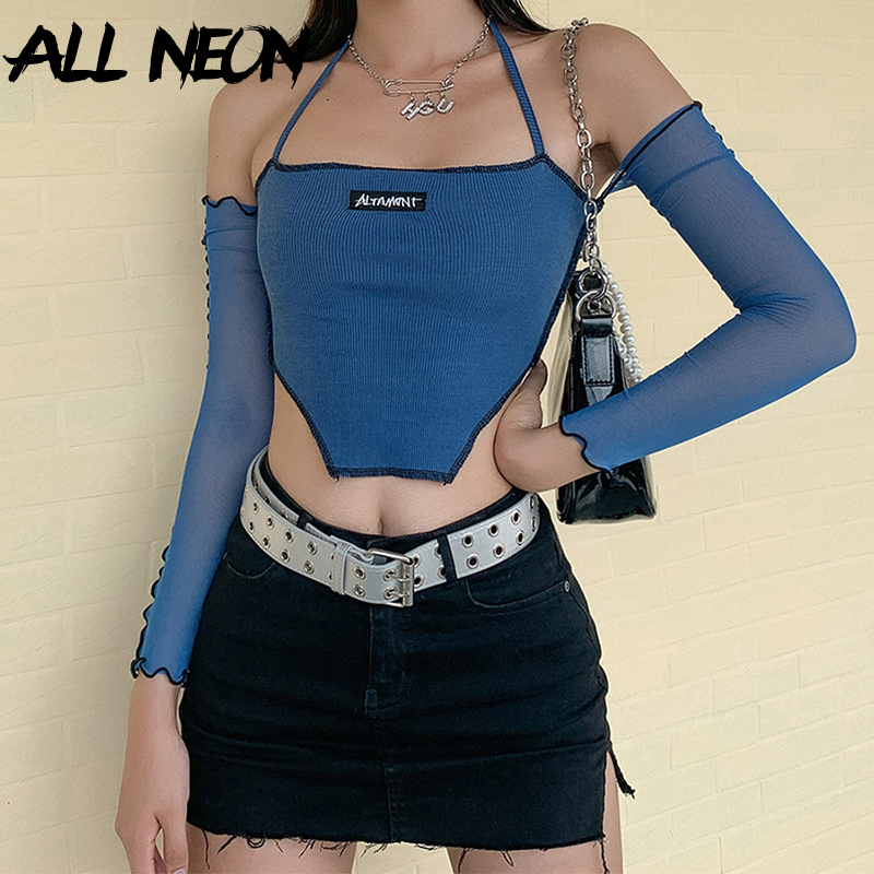 ALLNeon Y2K Fashion Ribbed Anomalistic Hem Cropped Tops  with Mesh Sleeve E-girl Backless Lace Up Halter Tanks Streetwear 90s 3