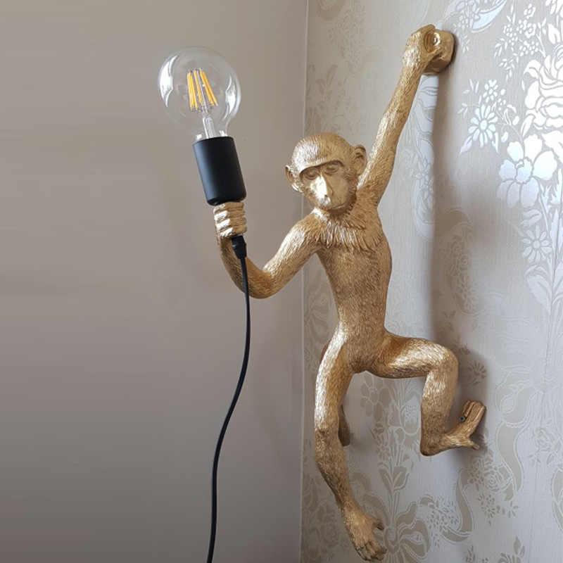 الراتنج الذهب قرد قلادة مصباح معلق الجدار ضوء غرفة المعيشة بيندانتي بريق E27 لمبة Kroonluchter لوسيس الديكور Plafondlamp