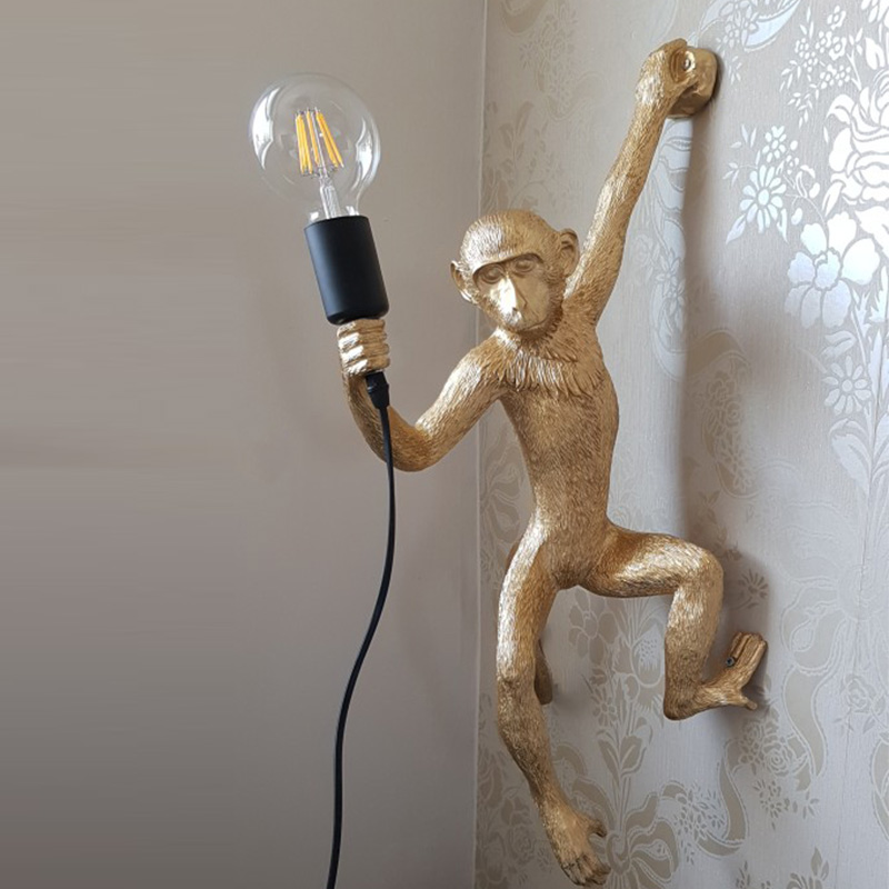 Resin Gold Monkey Pendant Lamp Hanging Wall Living Room Light Pendante Lustre E27 Bulb Kroonluchter Luces Decoration Plafondlamp