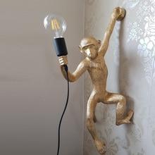 Resin Gold Monkey Pendant Lamp Hanging Wall Living Room Light Pendante lustre E27 Bulb Kroonluchter Luces Decoration Plafondlamp