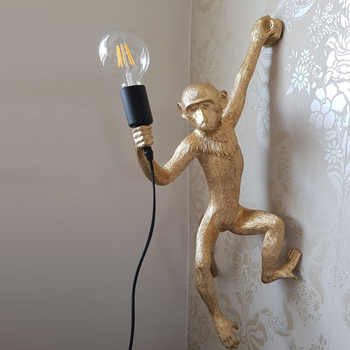Resin Gold Monkey Pendant Lamp Hanging Wall Living Room Light Pendante lustre E27 Bulb Kroonluchter Luces Decoration Plafondlamp - DISCOUNT ITEM  68% OFF All Category