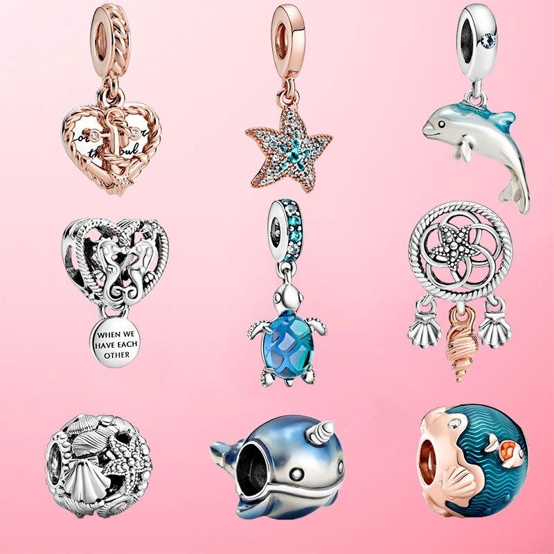2020 novo 925 prata esterlina verão oceano série contas balançar charme caber pandora original charme pulseira jóias presente