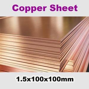 T2 Koperen Blad 1.5X100X100Mm Hoge Pure 99.9% Cu Tabletten Strip Shim Thermische Pad Koperen Plaat diy Materiaal Metaal Lasersnijden