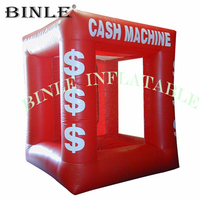 Funny game cube dollar red inflatable money machine cash catching/grab machine booth for advertising