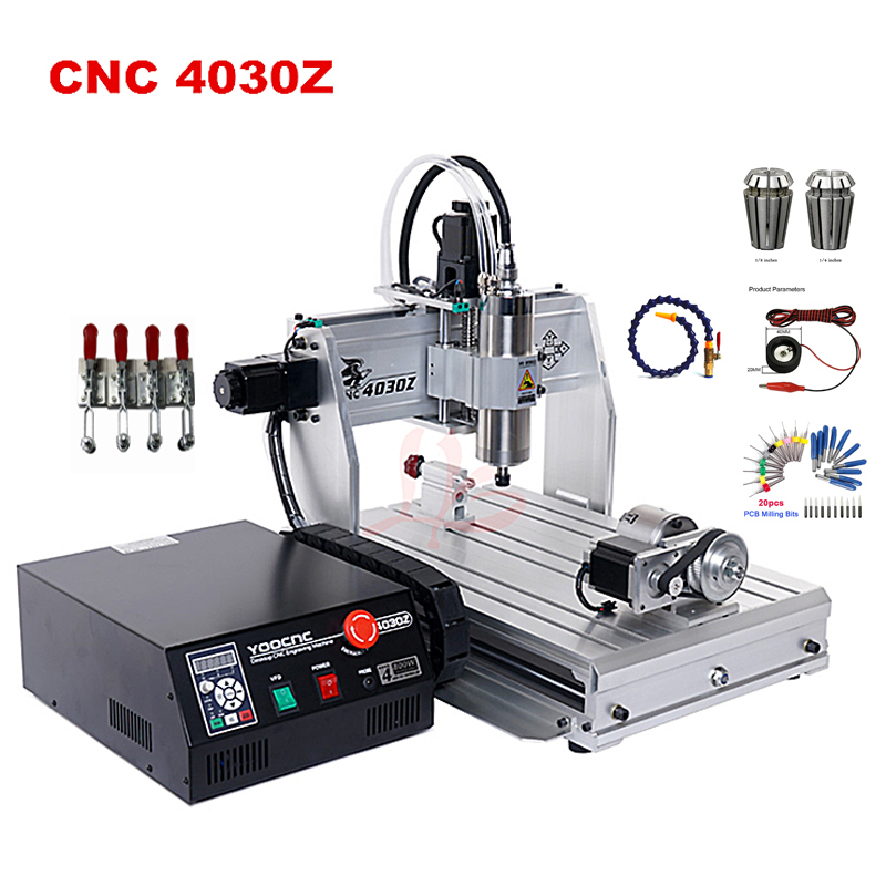 4 Axis Cnc Router 4030 Z-USB 800W 1500W Engraving Machine With USB Port Water Cool Spindle Motor Support Win 7,8,10 System
