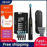 Seago-cepillo de dientes sónico para adultos, recargable rápido, eléctrico, automático, con funda, cabezal de repuesto para blanqueamiento, resistente al agua